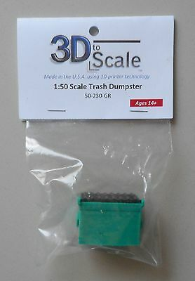 GREEN MODELBN50-230-GR 3D TO SCALE 1//50 SCALE TRASH DUMPSTER