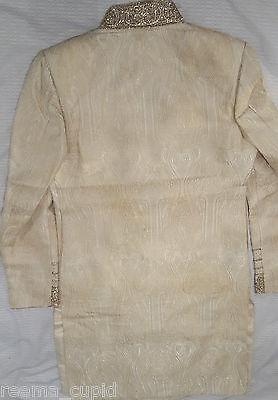 Daminis Mens Groom Wedding Wear Cream Sherwani Small Used 40 indian pakistani 5