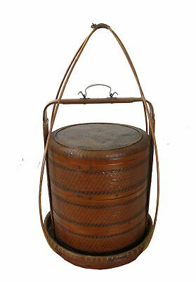 Chinese Antique Bamboo Food Box w Basket 3
