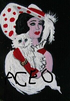 "A864 Original Acrylic Art Aceo Painting By Ljh  ""Picasso Lady"" 7"