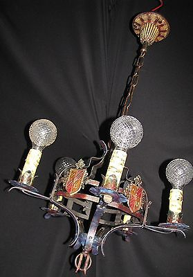 Vtg Gothic Revival Tudor Art Craft Deco Iron Chandelier Fixture 12