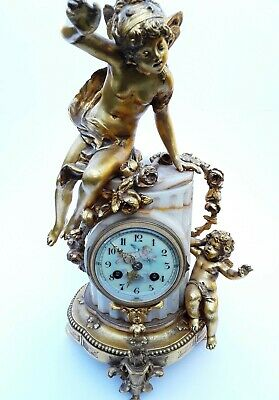Antique French Onyx Marble Mantel Clock With Cherubs Gilt Bronze 8 Day 19Th C 6