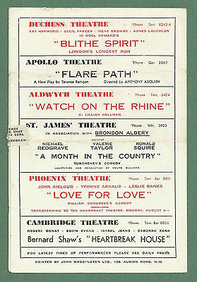 C1943 Globe Theatre Programme - They Came To A City - Googie Withers Etc 3