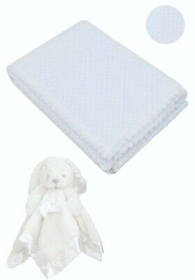 Personalised  embroidered BABY WAFFLE BLANKET gift set 3 color SUPER SOFT bunny 3