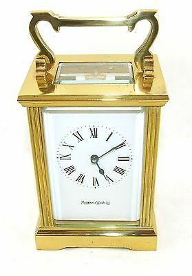 MAPPIN & WEBB Brass Carriage Mantel Clock Timepiece with Key  Working Order (54) 2