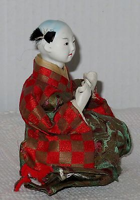 """Antique Japanese Seated 4.5"""" Musician Drummer Hina Doll BH4#AD4161415.8 8"""