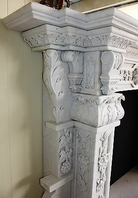 Hand Carved Carerra Marble Country French Monumental Fireplace Mantel Columns 6