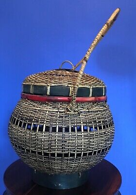 Antique Vintage Asian Hand Woven Basket w/ Handle & Lid - Chinese Japanese 2