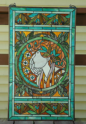 "20"" x 34"" Tiffany Style stained glass window panel Jeweled deco girl 6"