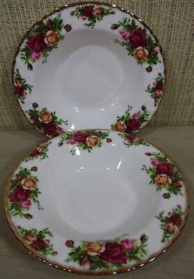 2X Royal Albert Old Country Rose Set 2 Rim Soup Bowls Cereal Bowls Never Use 2
