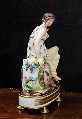 Rare Vienna Porcelain Boudoir Clock C1880 4