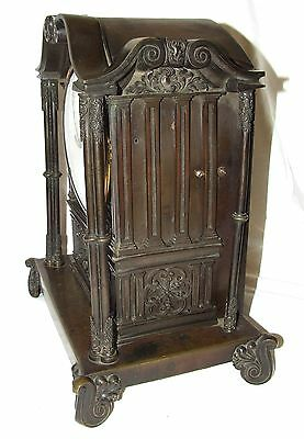 Antique Gothic BRONZE Twin Double Fusee Bracket Mantel Clock CLEANED & SERVICED 8