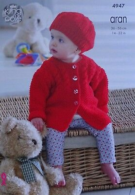 Baby KNITTING PATTERN Babies Cable Coat Cardigan Jacket & Hat Aran KingCole 4947 2