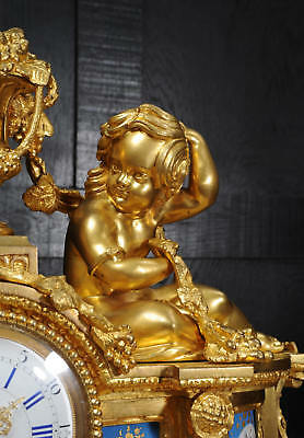 Large Antique French Ormolu And Sevres Porcelain Clock Cherubs Stunning 1850 12
