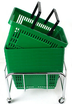 Pack of 20 x 2 Handle Green Plastic Shopping Basket Retail Supermarket Use 5