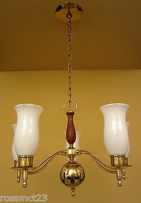Vintage Lighting Mid Century brass glass walnut chandelier by Moe 6