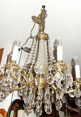 Spectacular Antique  Brass 6 Embossed Arm Chandelier 11