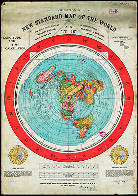 SQUARE /& STATIONARY EARTH 3 Flat Earth Prints GLEASON/'S WORLD MAP AZIMUTH