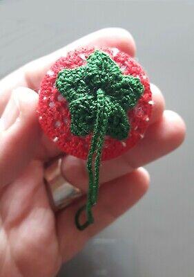 Glücksbringer Anhänger Deko gehäkelt Handarbeit Erdbeere 5,0 cm