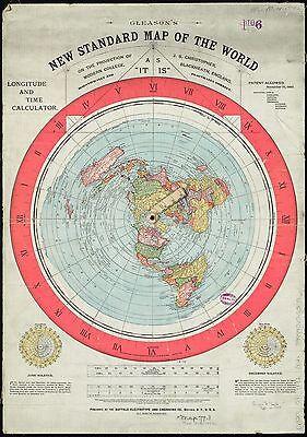 Gleason's New Standard Map of the World, +Aufkl. Erde Ist Flach, flat earth map