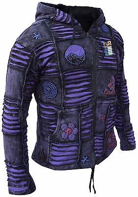 MEN PURPLE JACKET Psychedelic Gothic Fleece lined Embroidery
