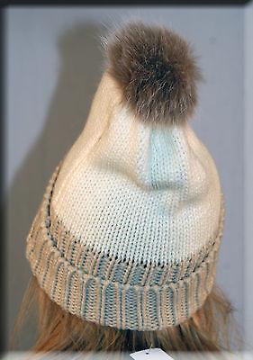 New Two Tone Ivory and Beige Knit Beanie Blush Fox Fur Pom Pom Efurs4less