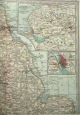 Original 1902 Map of Northern England & Wales by The Century Comapny. Antique 3