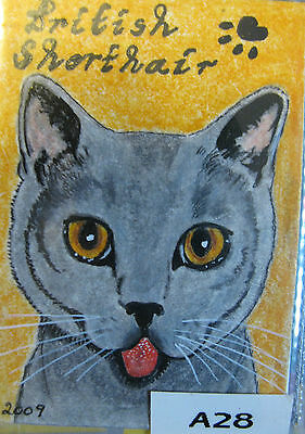 """A654     0Riginal Acrylic Aceo Painting By Ljh """"Oriental Shorthair"""" Cat Kitten 7"""