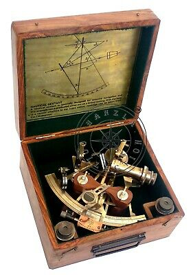 """8"""" Henry Barrow Nautical Sextant Antique Brass Ship Astrolabe With 2 Telescope 8"""