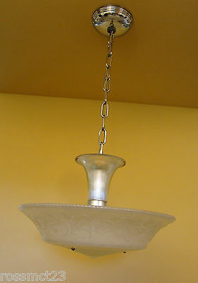 Vintage Lighting 1930s Moe Bridges chrome glass 200W chandelier   More Available 4