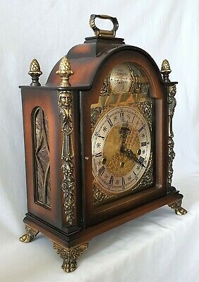 Westminster Mantel Clock Rare Wide 8 Day Key Wind German Made By Gewes 1964 4