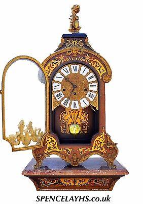 Vintage Franz Hermle Quarter Chiming Faux Boulle Pedestal Bracket Clock 2