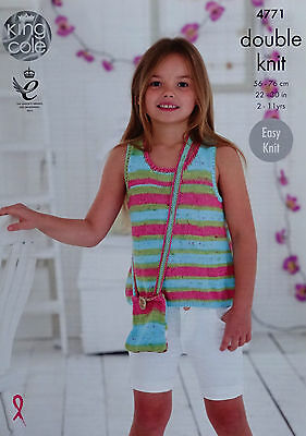 KNITTING PATTERN Girls Easy Knit Vest Short Sleeve Top & Bag DK King Cole 4771
