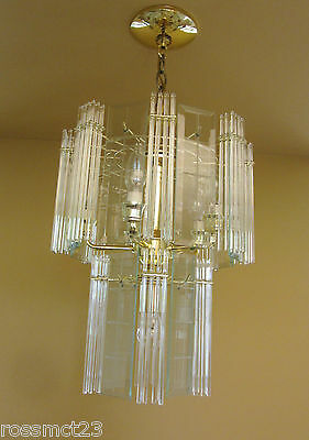 Vintage Lighting pair 1970s Mod glass rod chandeliers 3
