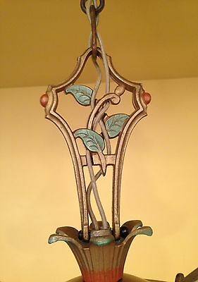 Vintage Lighting 1930 brass pan chandelier with lovely details 4