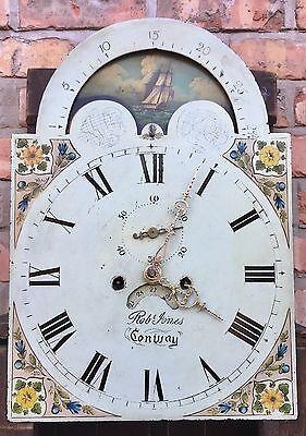 Oak & Mahogany Longcase Grandfather Clock Rolling Moon Robert jones Conwy 8