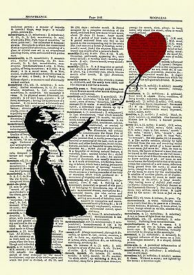 Banksy Girl With a Balloon Dictionary Art Print Picture Poster Nursery Child 2