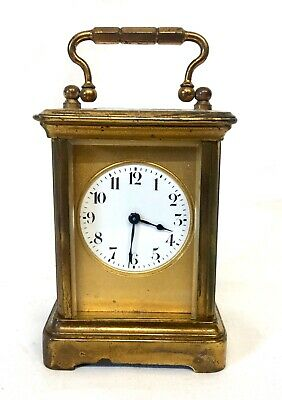 Antique 8 day Miniature Brass Carriage Clock Timepiece with Travelling Box Case 2