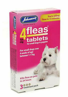 Johnsons 4Fleas Tablets Cat Dog Puppy - Starts Killing Fleas In 15 Mins 3&6 Pack 6