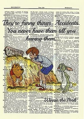WINNIE THE POOH Dictionary Art Print Picture Rabbit Hole