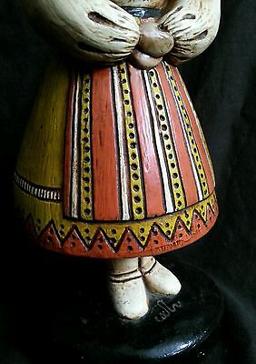 """Vintage hand made chalkware figurines in national costumes 10.5"""" S.America Euro 2"""