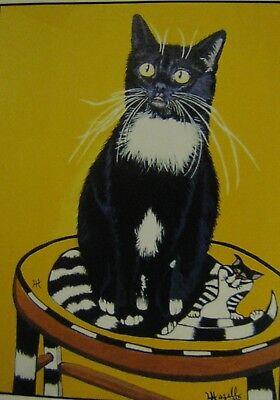 "C439        Original Acrylic Painting By Ljh    ""Vader""    Black Cat 3"
