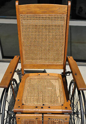 Antique Cane Back Wheelchair Oak Metal Three Wheel Chair Old 520 C Adjustable 4