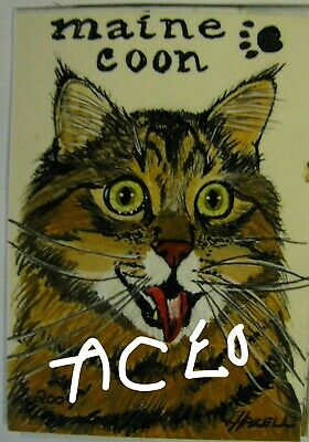 """A834        Original Acrylic Aceo Painting By Ljh  """"Frankie""""  Cat  Kitten 12"""