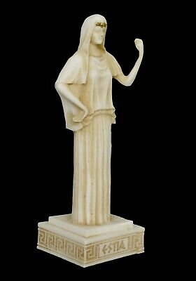 Hestia small Alabaster aged statue - Greek Goddess of The Family and The State 2