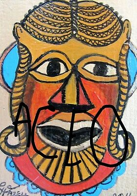 """A872  NEW -    ORIGINAL ACRYLIC ACEO PAINTING BY LJH    """"MASK""""  One-Of-A-Kind 7"""