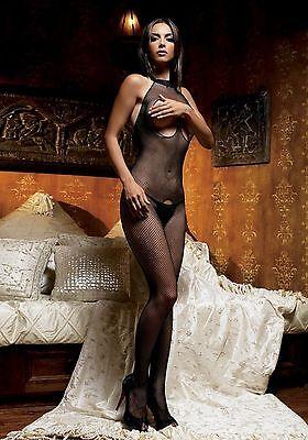 Sexy Bodystocking Rete Nero Tutina Seno Nudo Cavallo Aperto Crotchles Leg Avenue 4 • EUR 12,90