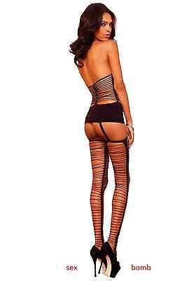 SEXY Completo mini ABITO Nero con REGGICALZE Calze Lingerie Fashion GLAMOUR 2