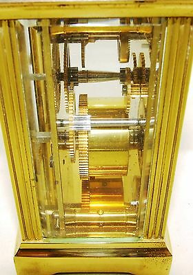 MAPPIN & WEBB Brass Carriage Mantel Clock Timepiece with Key  Working Order (54) 11