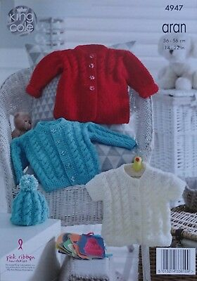 Baby KNITTING PATTERN Babies Cable Coat Cardigan Jacket & Hat Aran KingCole 4947 3